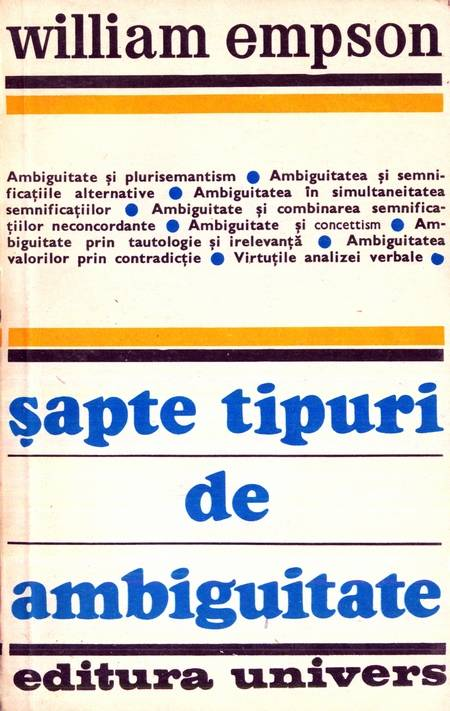 William Empson - Șapte tipuri de ambiguitate