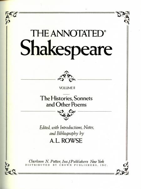 A.L. Rowse (ed.) - The Annotated Shakespeare (vol. 2)